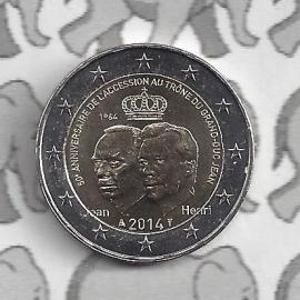 """Luxemburg 2 euromunt CC 2014 (16e) """"50e verjaardag van de troonsbestijging van Groothertog Jan"""""""