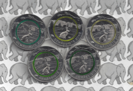 "Duitsland serie 5 euromunten 2019 ""gematigde zone"" (groene ring, alle letters A, D, F, G en J)"