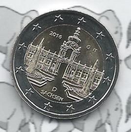 """Duitsland 2 euromunt CC 2016 (17e)""""Zwinger van Dresden, Saksen"""" (letter G)"""