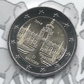 """Duitsland 2 euromunt CC 2016 """"Zwinger van Dresden, Saksen"""" (letter A)"""