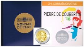 "Frankrijk 2 euromunt CC 2013 PROOF ""Pierre de Coubertin"""