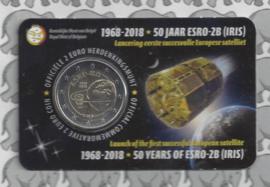 """België 2 euromunt CC 2018 """"50 Jaar na de lancering van de satelliet ESRO 2B"""" in coincard Nederlandse versie"""