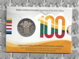 """Litouwen 2 euromunt CC 2018 """"100 jaar onafhankelijkheid van de Baltische Staten""""(in coincard)"""