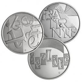 Frankrijk 3 x 5 euromunt 2013 zilver