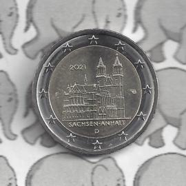 """Duitsland 2 euromunt CC 2021 (25e) """"Saksen-Anhalt (Kathedraal van Maagdenburg)"""" (letter F)"""