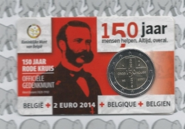 "Belgium 2 eurocoin CC 2014 ""150 jaar Rode kruis"" in coincard Vlaamse versie"