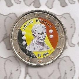 """België 2 euromunt CC 2009 """"Braille"""" (kleur 1)"""