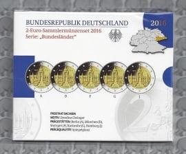 """Duitsland 2 euromunt CC 2016 """"Zwinger van Dresden, Saksen"""" (5 letters) proof"""