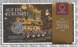 """Oostenrijk 5 euromunt 2016 (29e) """"Nieuwjaarsconcert"""" (zilver in blister)"""
