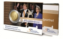"""Nederland 2 euromunt CC 2014 """"Koningsdubbelportret"""" UNC versie in coincard met mini-magazine"""