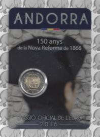 """Andorra 2 euromunt CC 2016 """"150 jaar sinds de hervormingen van 1866"""" in coincard"""