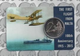 """Malta 2 euromunt CC 2015 """"1e vlucht van Malta 1915"""" (in coincard, met muntmeesterteken)"""