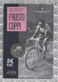"""Italië 5 euromunt 2019 """"100ste geboortedag van Fausto Coppi"""" (in coincard)"""