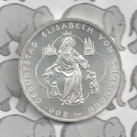 "Duitsland 10 euromunt 2007 (33e) ""800e Verjaardag Elisabeth van Thüringen"" (nikkel)."