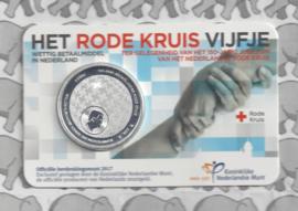 """Nederland 5 euromunt 2017 """"Rode Kruis vijfje"""" (in coincard)"""