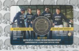 """België 2 euromunt CC 2017 """"Universiteit van Gent"""" in coincard Nederlandse versie"""