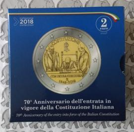 """Italië 2 euromunt CC 2018 70ste verjaardag van de inwerkingtreding van de Italiaanse grondwet"""""""", Proof in doosje met certificaat"""