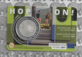 """België 5 euromunt 2021 """"Europees jaar van het spoor"""" in coincard"""