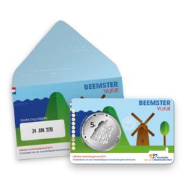 """Nederland 5 euromunt 2019 (42e) """"Beemster vijfje"""" (1e dag van uitgifte coincard in envelopje)"""