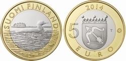 """Finland 5 euromunt 2014 (33e) """"Parelduiker uit Savonia"""""""