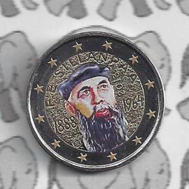 """Finland 2 euromunt CC 2013 """"125ste geboortedag van Nobelprijs winnaar F.E. Sillanpaa"""" (kleur 1)"""