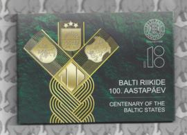 """Estland 2 euromunt CC 2018 (5e)""""100 jaar onafhankelijkheid van de Baltische Staten""""  (in coincard)"""