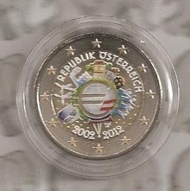 """Oostenrijk 2 euromunt CC 2012 """"10 jaar euro"""" (kleur)"""