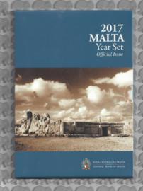 """Malta BU set 2017 """"Tempels van Hagar Qim"""". 2 euromunt met Maltees muntteken (F)."""