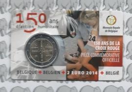 """België 2 euromunt CC 2014 """"150 jaar Rode kruis"""" in coincard Franse versie"""