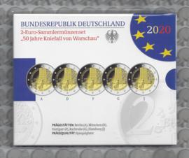 """Duitsland 2 euromunt CC 2020 (24e) """"50 Jaar na de Kniebuiging van Warschau"""" (5 letters) proof"""