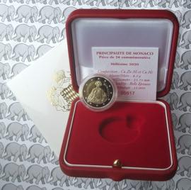 """Monaco 2 euromunt CC 2020 (10e) """"300e Geboortejaar van Honoré III"""", proof in doosje met certificaat"""