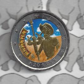 """Spanje 2 euromunt CC 2005 """"Don Quichot"""" (kleur 1 x)"""