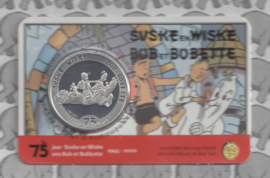 """België 5 euromunt 2020 """"75 jaar Suske en Wiske"""" (niet kleur), in coincard"""