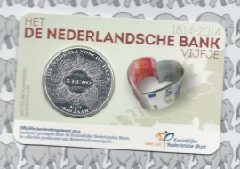 """Nederland 5 euromunt 2014 (27e) """"200 jaar Nederlandsche Bank"""" (in coincard)"""