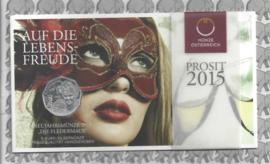 """Oostenrijk 5 euromunt 2015 (27e)  """"Fledermaus"""" (zilver in blister)"""