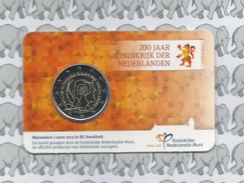 """Nederland 2 euromunt CC 2013 """"200 jaar Koninkrijk"""" in coincard"""