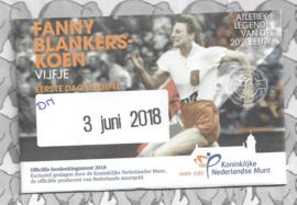 "Nederland 5 euromunt 2018 ""Fanny Blankers-Koen vijfje"" (1e dag van uitgifte coincard in envelopje)"
