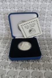 """België 10 euromunt 2015 """"70 jaar vrede in Europa"""" (proof, zilver in blauw doosje met certificaat)."""