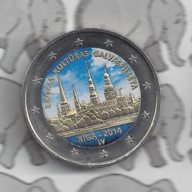 """Letland 2 euromunt CC 2014 """"Riga — culturele hoofdstad van Europa voor 2014"""" (kleur)"""