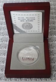 """België 20 euromunt 2014 """"25ste Verjaardag van de Val van de Berlijnse Muur"""", in doosje met certificaat."""