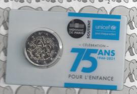 "Frankrijk 2 euromunt CC 2021 (25e) ""75 jaar Unicef"", in coincard"