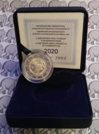 """Griekenland 2 euromunt CC 2020 (21e) """"2500 Jaar na de Slag bij Thermopylae"""", proof in doosje met certificaat"""