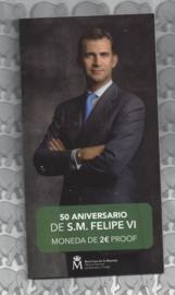 """Spanje 2 euromunt CC 2018 """"50ste geboortedag van Koning Filipe VI"""", proof in blister"""
