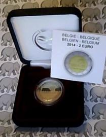 """België 2 euromunt CC 2014 """"100 jaar sinds het begin van de Eerste Wereldoorlog"""" proof in doosje"""
