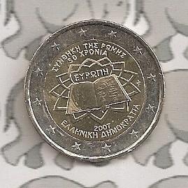 """Griekenland 2 euromunt CC 2007 (2e)""""Verdrag van Rome"""""""