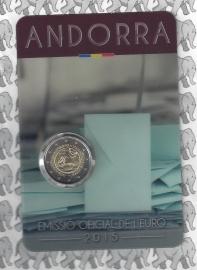 """Andorra 2 euromunt CC 2015 (3e)""""30e verjaardag van de invoering van de meerderjarigheid en de toekenning van politieke rechten op 18 jaar"""" in coincard"""