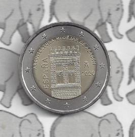 """Spanje 2 euromunt CC 2020 (18e)""""Mudejar architectuur van Aragon"""""""