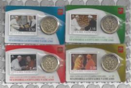 Vaticaan 4x 50 eurocent 2021 in coincard met postzegel, nummer 36, 37, 38 en 39