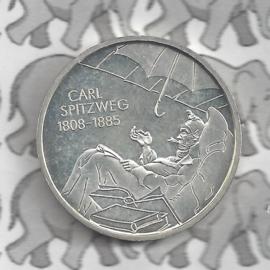"""Duitsland 10 euromunt 2008 (34e) """"200e Verjaardag Carl Spitzweg"""" (nikkel)."""