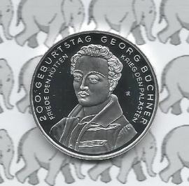 """Duitsland 10 euromunt 2013 (4e) """"200. verjaardag Georg Büchner"""" (Zilver)"""